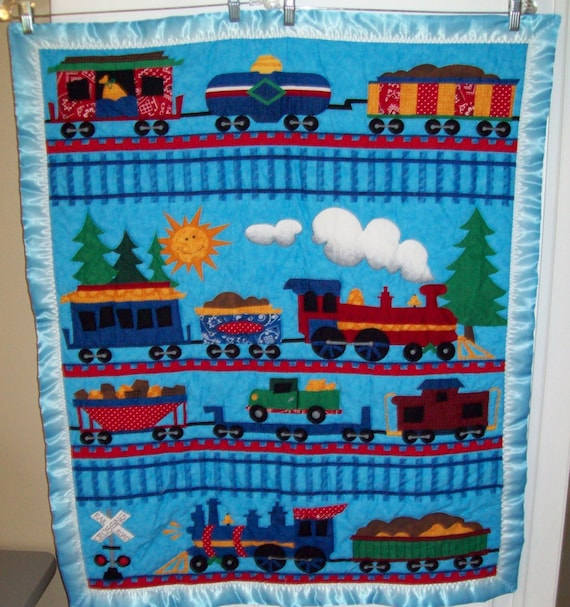Hand-quilted Train Themed Baby Quilt. By Quiltsquared On Etsy