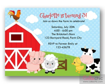 Farm Birthday Invitation PRINTABLE - Girl / Boy 1st Birthday Party Invitation - Blue/Pink Polka Dot with Barn