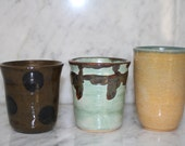 Mismatched Tumbler set of 3 ceramic cups for water wine juice tea