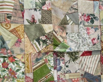 Patchwork crazy quilt Sage, Taupe, Peach, and Ivory 264