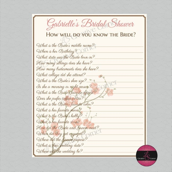 How Well Do You Know The Bride Bridal Shower Game With Cherry