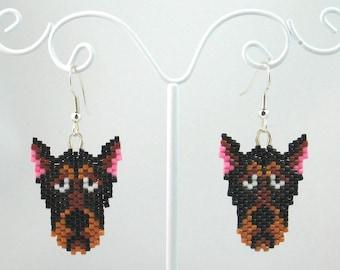 Beaded Doberman Earrings
