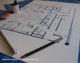 Don Draper - Apartment Floor Plan Poster Art - Mad Men - Blue Print for Bachelor Home of Don Draper - Mad Men Decor