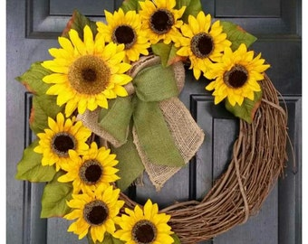 Sunflower wreath, fall wreath, fall wreath with monogram, door wreath, wreath, monogram wreath, autumn wreath, wreath for fall, burlap