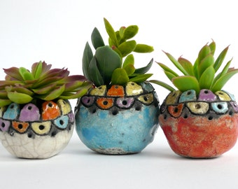 Small containers for plants-small containers in ceramic raku-Spring decoration