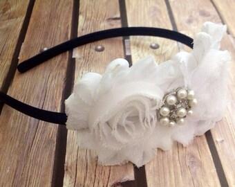 Navy and white headband, navy headband, white headband, floral headband, flower girl headband, flower headband, navy and white, halo,