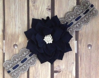 Grey headband, grey an navy headband, navy headband, vintage headband, lace headband, flower girl headband, halo, vintage lace headband,