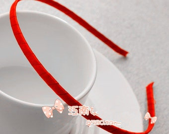 15pcs 5mm Red Satin Ribbon Covered Wrapped Metal(Steel) Headbands