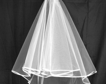 Bridal Veil -  FINGERTIP length, two tier, various edges, tulle on comb, top quality