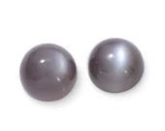 Moonstone Titanium Grey Set of 2 Loose Round Cabochon Gemstones 1A Quality 7mm TGW 3.25 cts.