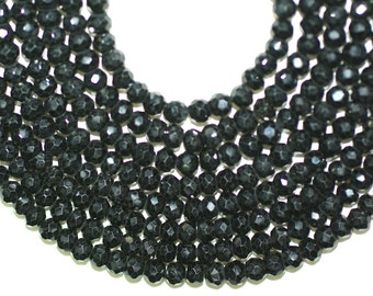 Black Spinel Beads, Black Spinel Faceted Rondelle 6mm Full Strand 16 inches or Half Strand 8 inches