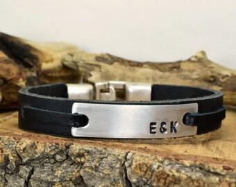 FREE SHIPPING Men's personalized bracelet,Men bracelet,Custom Personalized Bracelet,hand stamped bracelet,Engraved,Aluminum plate