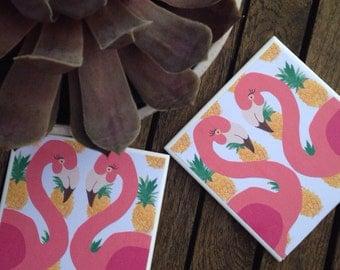 Flamingo pineapple tropical coasters