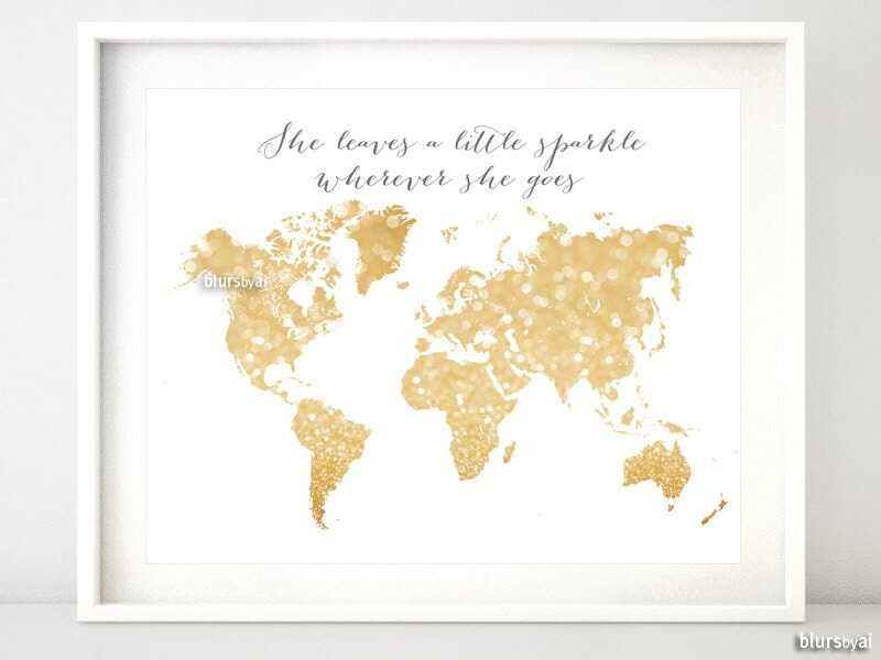 10x8 20x16 printable world map gold glitter map zoom sciox Choice Image
