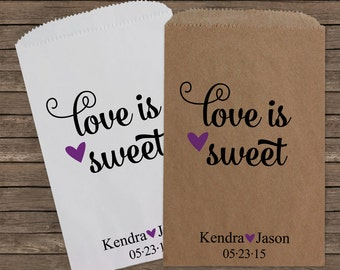 Wedding Favors Love is Sweet Wedding Favor Bags Candy Bar Bags Wedding Favor Bag Rustic Wedding Personalized Favor Bags Candy Buffet 097