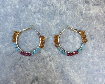 Blue, Red, and Gold Wire Beaded Hoop Earrings