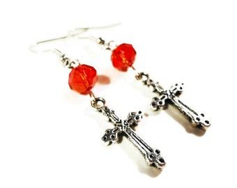 Cross Charm Earrings, Silver Cross Earrings, Red Crystal Bead Earrings, Beaded Dangle Earrings, Beadwork Earrings, Women's Religious Jewelry