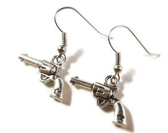 Silver Gun Earrings, Gun Charm Earrings, Handgun Earrings, Pistol Earrings, Revolver Earrings, Weapon Jewelry, Women's Jewelry, Gift for Her