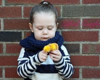 """Chunky Knit Infinity Cowl Scarf - Navy Blue - """"Comfort Kiddie Cowl"""""""