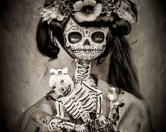 Beautiful Mortal Dia De Los Muertos Tattooed Doll Holding Skeleton PRINT 430 by Michael Brown