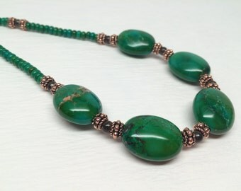 Emerald Green Turquoise Bronzite Copper Necklace