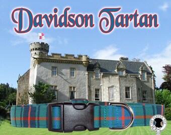 Davidson Tartan Dog Collar,,, Authentic tartan from the Scottish Clan Davidson