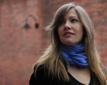 """Sale! Solid Color Scarf on Merino and Angora Blend -"""" Blue Twilight"""""""