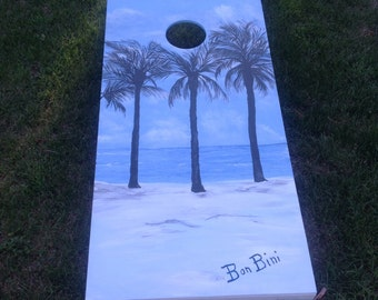 homemade Corn Hole game with art work by Artist Lulu