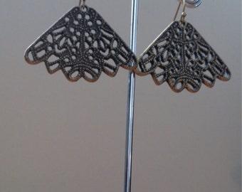 antique bronze filigree fan earrings