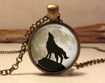 Wolf necklace.Full moon art pendant jewelry. wolf jewelry . wolf pendant. full moon . Full moon necklace