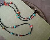 Boho Mixed Beads infinity Necklace, Gemstone, glass, metal and seed beads, Black Turquoise and red Necklace, Layered long stacking Necklace