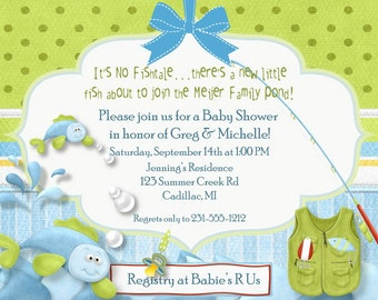 Fishing Baby Shower Invitation, Fish-Tales Baby Shower