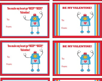Robot Valentines Day Cards, Kids Valentines Printable Cards