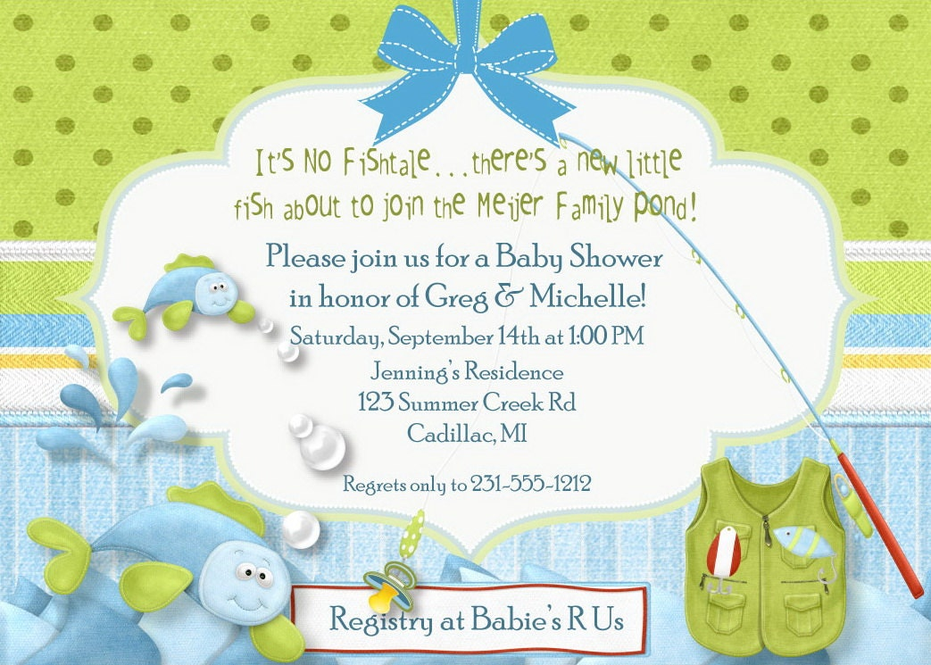 Fishing baby shower invitation fish tales baby shower for Fishing baby shower invitations