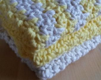 Crocheted wash cloth / dish cloth in cream / lemon yellow - set of 3 eco friendly