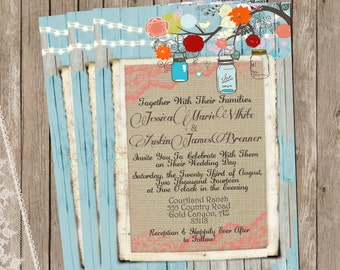 Turquoise Mason Jar, Burlap and Lace Wedding Invitation, Rustic, Wood fence,  Printable, Digital File, Personalized, 5x7,