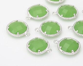 Apple Green Glass Round Pendant Polished Rhodium -Plated - 2 Pieces [G0038-PRAG]