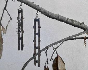 Lost Highway Earrings. Scrap Metal Minimalist Asymmetrical Steampunk Industrial free shipping