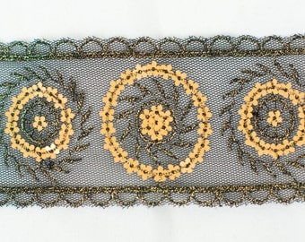 15yds Gold Sequin Embroidery on Black Net Trim