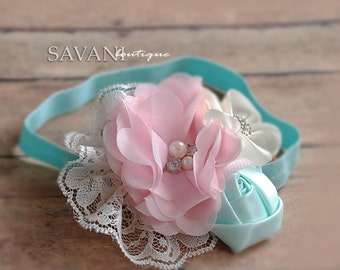 Baby girl Headband ,Ivory,aqua, pink Headband,Baby girl Headband,Newborn Headband, Headbands,Shabby Chic Headband, Headband, Baby Headbands