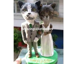 Custom Cat Wedding Cake Topper. Animal Wedding Cake Topper. Tabby Cat Cake Topper