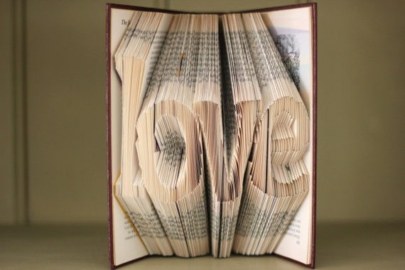 "Folded Book Art - ""Love"" - Hardcover Book"