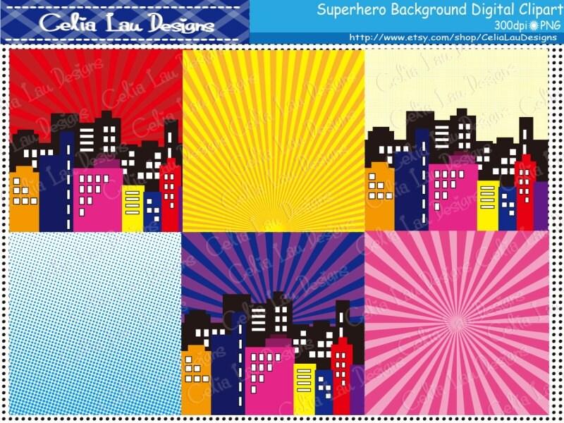 Superhero clipart Superhero digital paper pack S015 comic