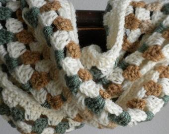 Crochet Infinity Scarf, Granny Square Cowl, Women's Cowl, Women's Scarf, Beige, Green , Tan Infinity Scarf, Ladies Cowl, Infinity Scarf
