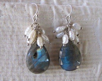 Labradorite and freshwater pearl earrings