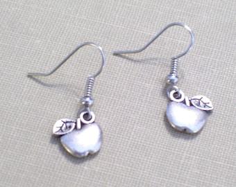 Antiqued Silver  Apple Earrings, Fruit Earrings, Food Jewelry, Pierced Dangle Earrings, Teacher Gift, Back To School