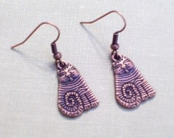 Antiqued Copper Folk Art Cat Earrings, Copper Kitty Jewelry, Animal Jewelry, Cat Jewelry, Textured Pierced Dangle Earrings