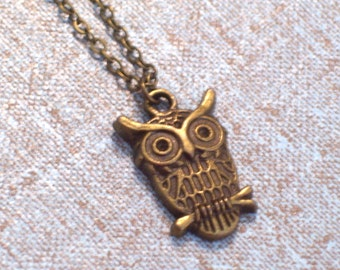 Antiqued Brass Owl Pendant Necklace, Bronze Owl, Antiqued Brass Plated Chain
