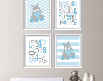 Baby Boy Nursery Art - Boy Nursery Decor - Hippo Nursery Art - Hippo Bedroom Art - Hippo Art - Hippopotamus - Gray Blue (NS-593)