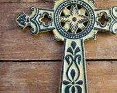 Items similar to Wall Cross Ichthus design in greens on Etsy